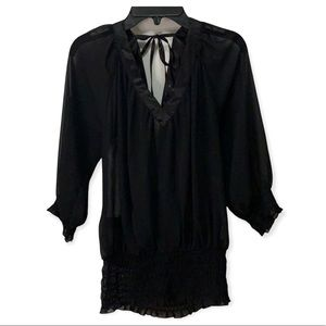 Guess sheer v neck blouse with open back